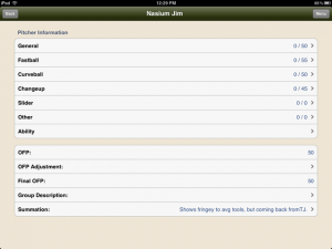 iPad Pitcher Information