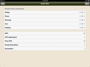 iPad Position Player Information