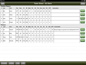 iPad Team Sheet